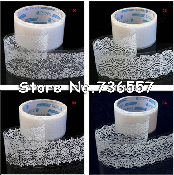 Freeshipping!Wholesale,New Transparent Lace Tape (large)sticker Decorative Tape/DIY Stationery /Office Adhesive Tape