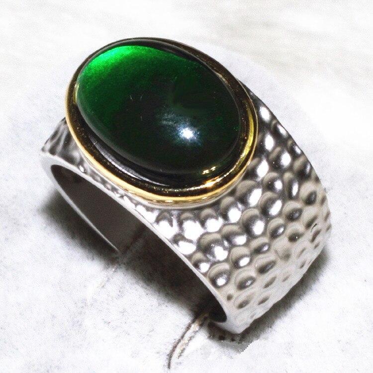 Retro the Oval Green zircon broadside ring complex shaped stone 1 grain ALW1837