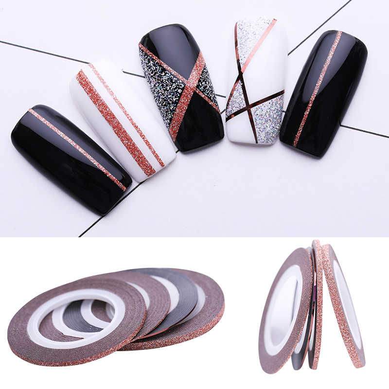 4Pcs Nail Striping Tape Line Sticker Decors 1mm 2mm 3mm Rose Gold Matte Glitter Stickers DIY  Tool Nail Art Decoration