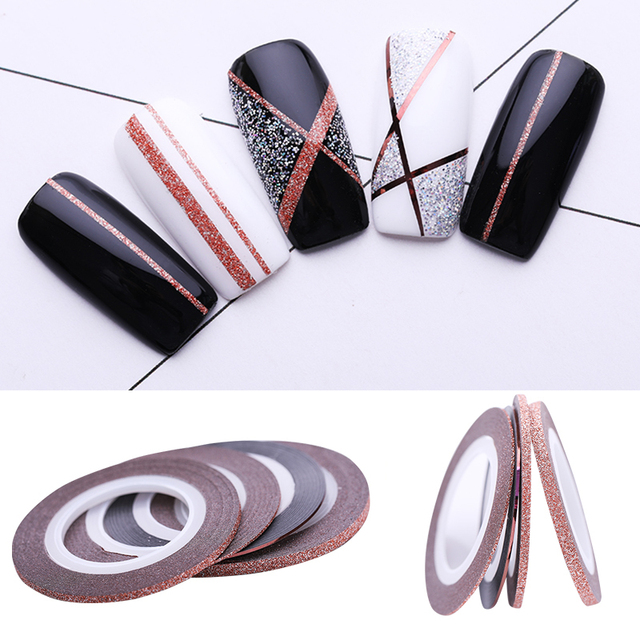 4Pcs Rose Gold Nail Striping Tape Line Sticker 1mm 2mm 3mm