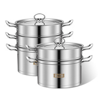 High Quality Multi layer Soup Food Steamer Pot Double Boiler Steamer Pot Stainless Steel Steam Double Bottom Hot Soup Kazan Pots