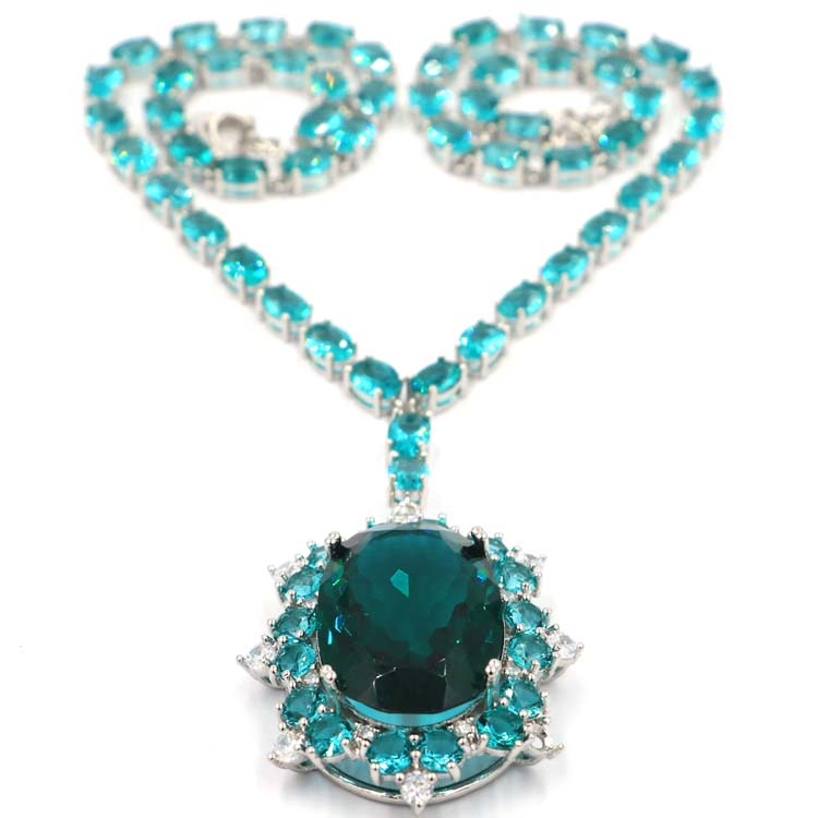 Charming Long Rich Blue Aquamarine White CZ Ladies Party Silver Necklace 18 0 18 5in 66x37mm