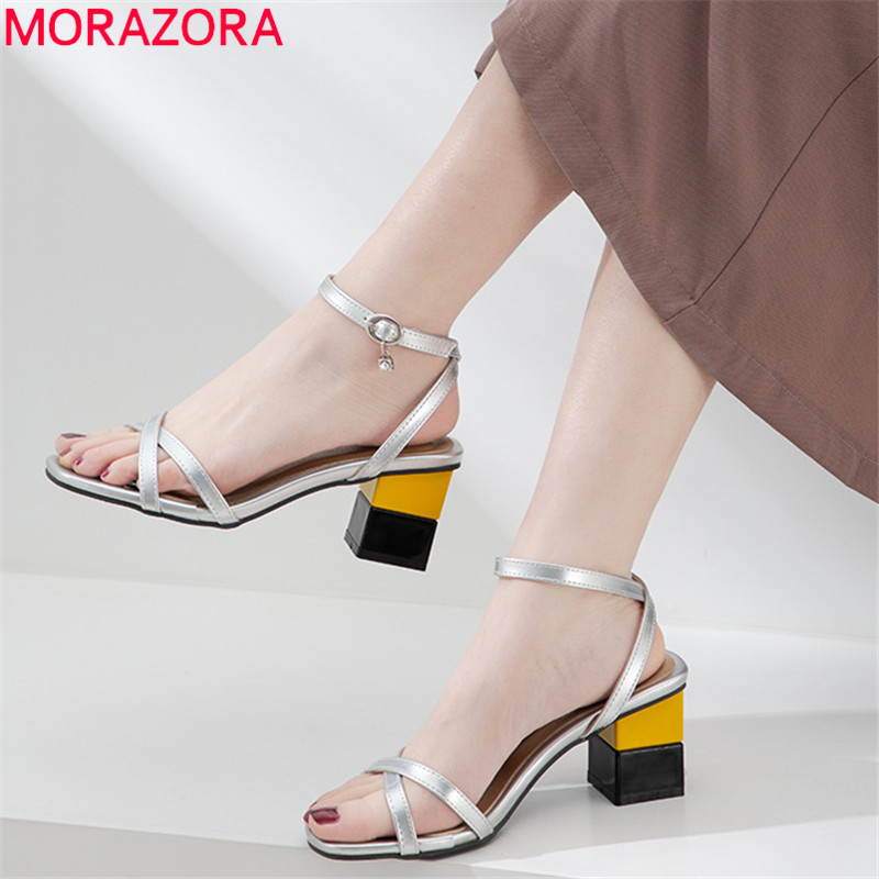 MORAZORA 2019 new arrival women sandals pu buckle square high heels sandals simple fashion summer dress party shoes woman MORAZORA 2019 new arrival women sandals pu buckle square high heels sandals simple fashion summer dress party shoes woman