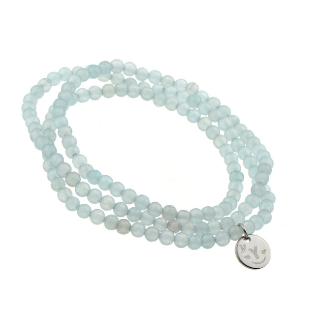 28cccc1771e40 US $3.2 |Semi Transparent Light Blue Small Beads Natural Stones Long  Bracelet for Women Multilayer Beaded Bracelet Fashion Accessory-in Charm ...