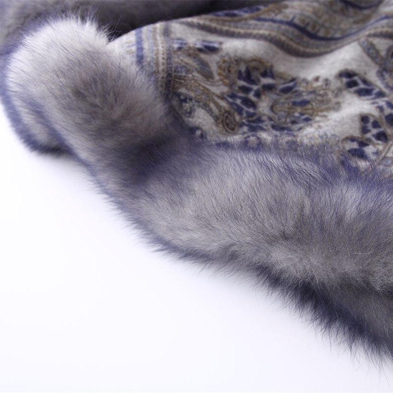 ZY87040 Design spécial luxueux cachemire en forme d'arc col de renard imprimé hiver noël femmes châle enveloppe Pashmina - 6