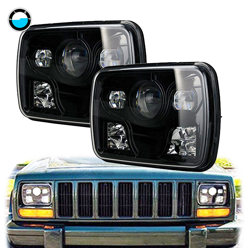 DOT Approved 5x7 Projector LED Headlight Black Housing 7x6 inch led Driving light for Jeep Offroad Trucks,Motorcycle.