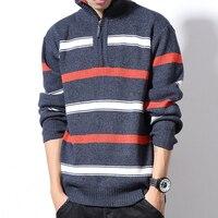 Striped Thick Autumn Winter Christmas Sweater Men Pullover Fashion Brand Mens Jumper Plus Size Turtleneck Men 2018 M 5XL 6XL
