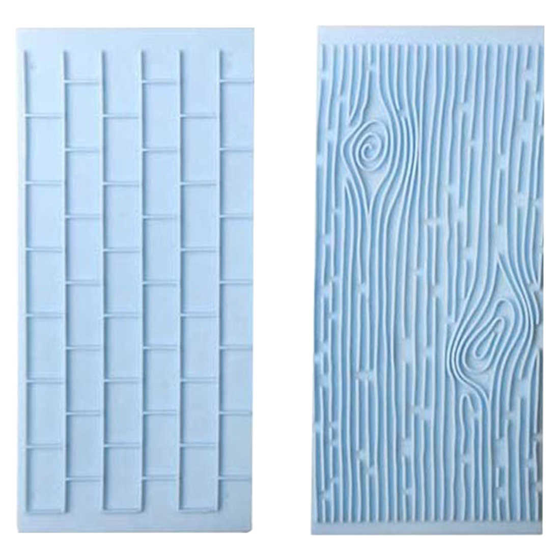 2PCS/Set Tree Bark Brick Wall Bakeware Tools Silicone Food Grade Texture Kitchen Accessories Cake Decorating Fondant Mold