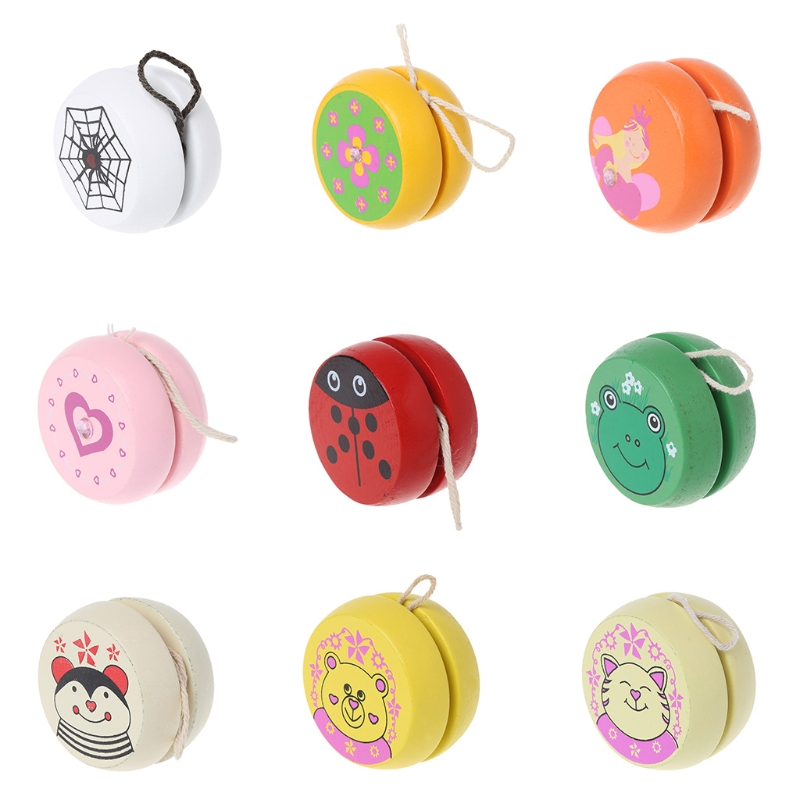 Toys Cute Animal Prints Wooden Yoyo Toys Easy Educational Toys Classic Toy