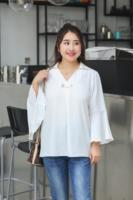 Vagary Plus Size Chiffon Tunic Shirt Solid Flare Sleeve Blouse Button Up Lapel Women Tops Casual Fall Office Work Blouse