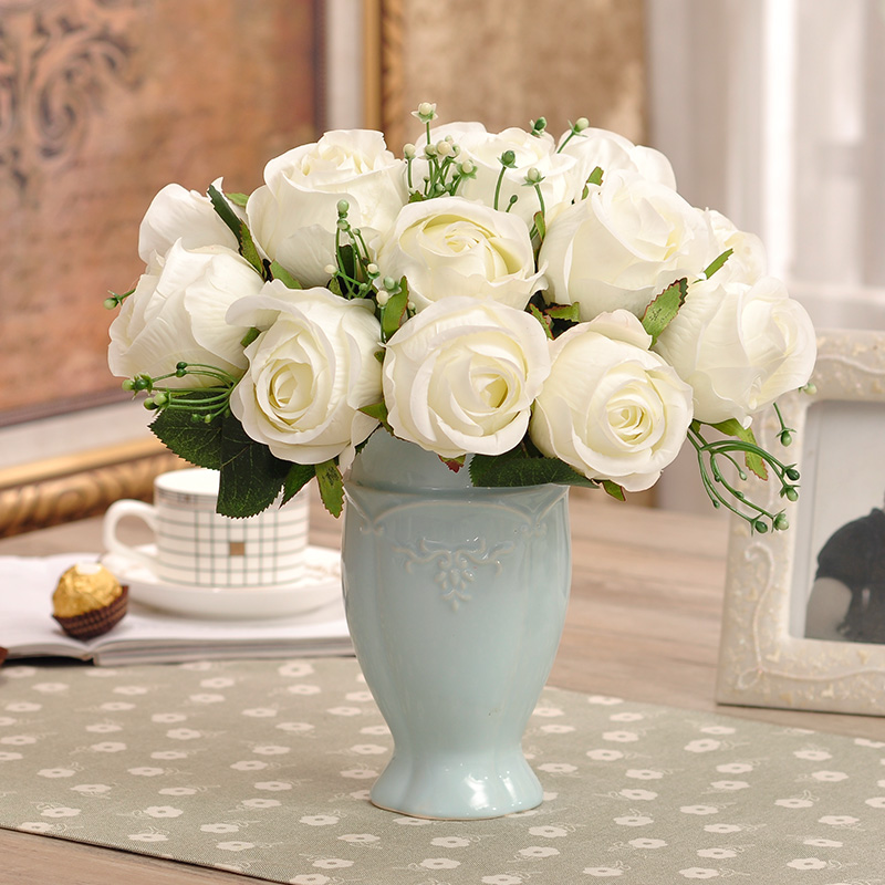 Simulation Flower Decoration Vase Set The Living Room Table Floral Finished Silk Rose