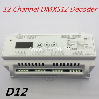 12 Channel DMX512 Decoder DC5V-36V input;5A*12CH output with display for setting DMX address For led RGB strip