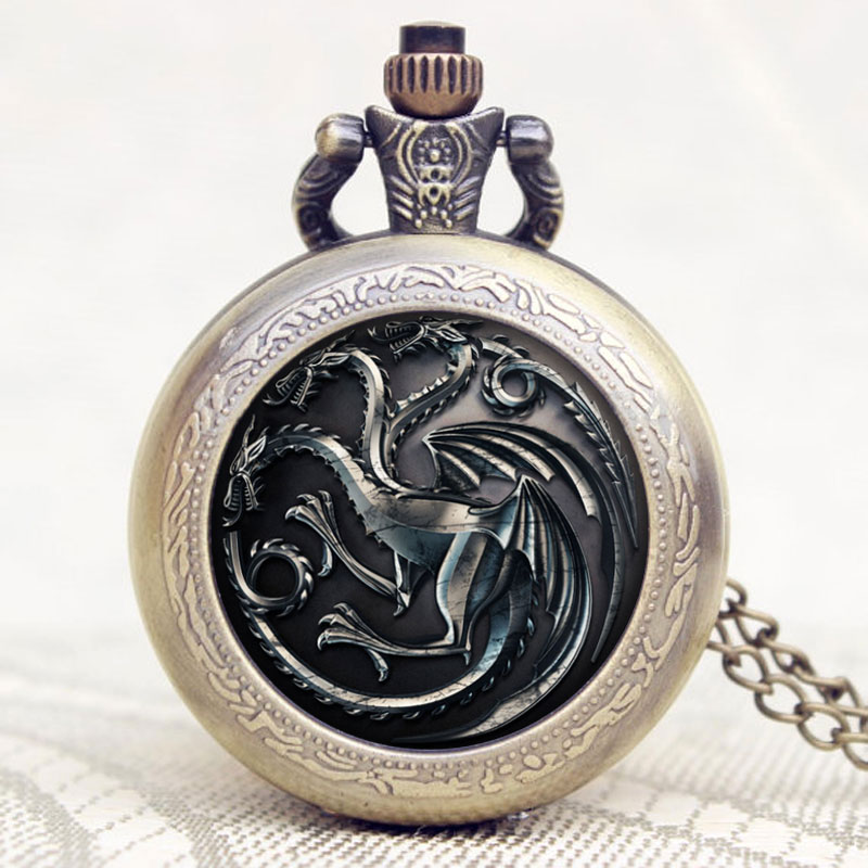 A Song Of Ice And Fire Family Crests House Targaryen Theme Bronze Quartz Pocket Pendant Watch With Necklace Chain Christmas Gift
