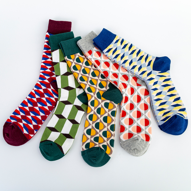 Colorful Men's Cotton Dress Funny Socks Novelty Casual Personality Design Hip Hop Street Wear Happy Wedding Socks Gifts for Male 2