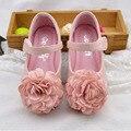 2017 flor bebê meninas flats shoes com tira no tornozelo flor de luxo meninas sapato para festa de casamento shoes crianças princesa ballet para crianças Flats