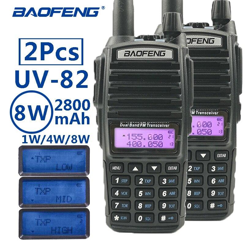 2 pièces baofeng uv-82 8 W portable talkie-walkie longue portée 10 km vhf/uhf bi-bande jambon radio station uv 82 émetteur-récepteur de chasse