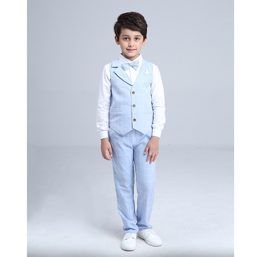 4 Piece Boys Suit Vest+ Shirt +Pants+Tie Boys Clothes Set Gentleman Suit Kids Jongens Kleding Spring Kids Clothes Sets kids spring formal clothes set children boys three piece suit cool pant vest coat performance wear western style
