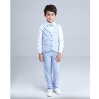 4 Piece Boys Suit Vest+ Shirt +Pants+Tie Boys Clothes Set Gentleman Suit Kids Jongens Kleding Spring Kids Clothes Sets