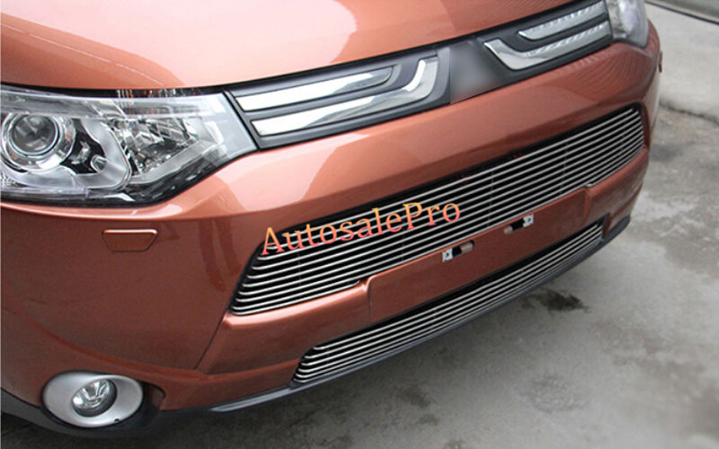 2PCS Steel Front Center Grill Grid Grille Mesh Cover Trim For Mitsubishi Outlander 2013 2014 chrome front bumper grille grill trim molding for mitsubishi outlander 2013 2014