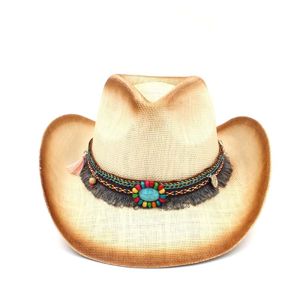 Mujeres de la moda de paja Sombrero de vaquero con Punk banda de cuero de  la señora occidental Sombrero Hombre Cowgirl Jazz Caps tamaño 58 cm en  Sombreros ... cb54c9f814c