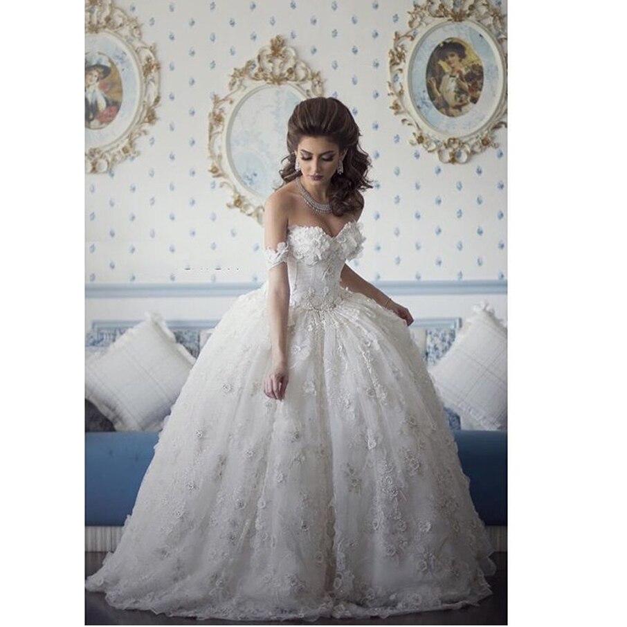 2017 Amazing Puffy Wedding Dresses Vintage Lace Bridal