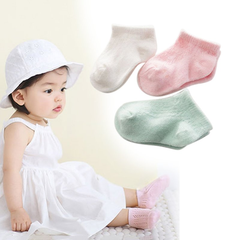 0-3 Y Newborn Soft Baby Socks Toddler Kids Boys Girls Solid Hollow Out Breathable Summer Ankle Socks