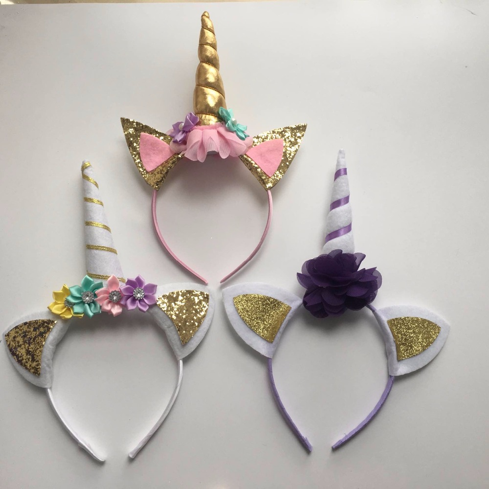 Buy 3pcs lot unicorn horn with chiffon for Decoracion para pared de unicornio