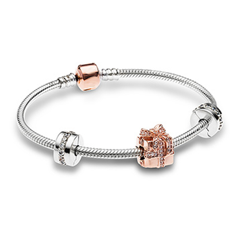 NEW Christmas Newest 925 Sterling Silver Sparkling Surprise Charm Fit Bracelets Rose & Clear CZ Women Gift DIY JewelryNEW Christmas Newest 925 Sterling Silver Sparkling Surprise Charm Fit Bracelets Rose & Clear CZ Women Gift DIY Jewelry
