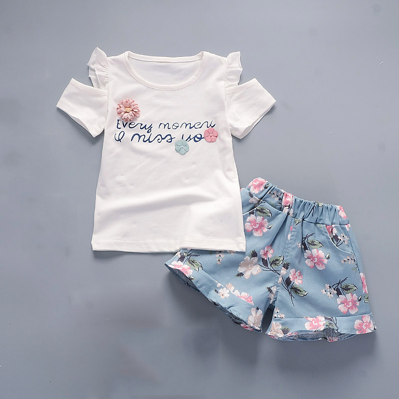 Bibicola Summer Baby Girls Clothing Sets Kids Girls Clothes Set Outfit Children Girls T-Shirt+ Floral Shorts 2Pcs Girls Clothing