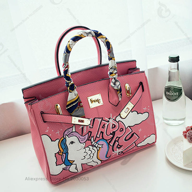 Real Leather Crossbody Bags Hand Painted Pink Little Pony Handbags 40cm Large Messenger Bag Togo