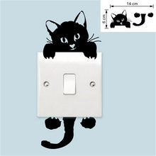 New Cat Wall Stickers Light Switch Decor Decals Art Mural Baby Nursery Room Living Room Home Decor Background Wall Stickers(China)