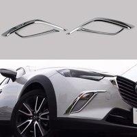4 pçs/set ABS Cromado Luz de Nevoeiro Da Frente Do Carro Sobrancelha Capa Guarnição Tira CX-3 Decalque Apto Para Mazda 2018 Car Styling acessórios para Decorar o