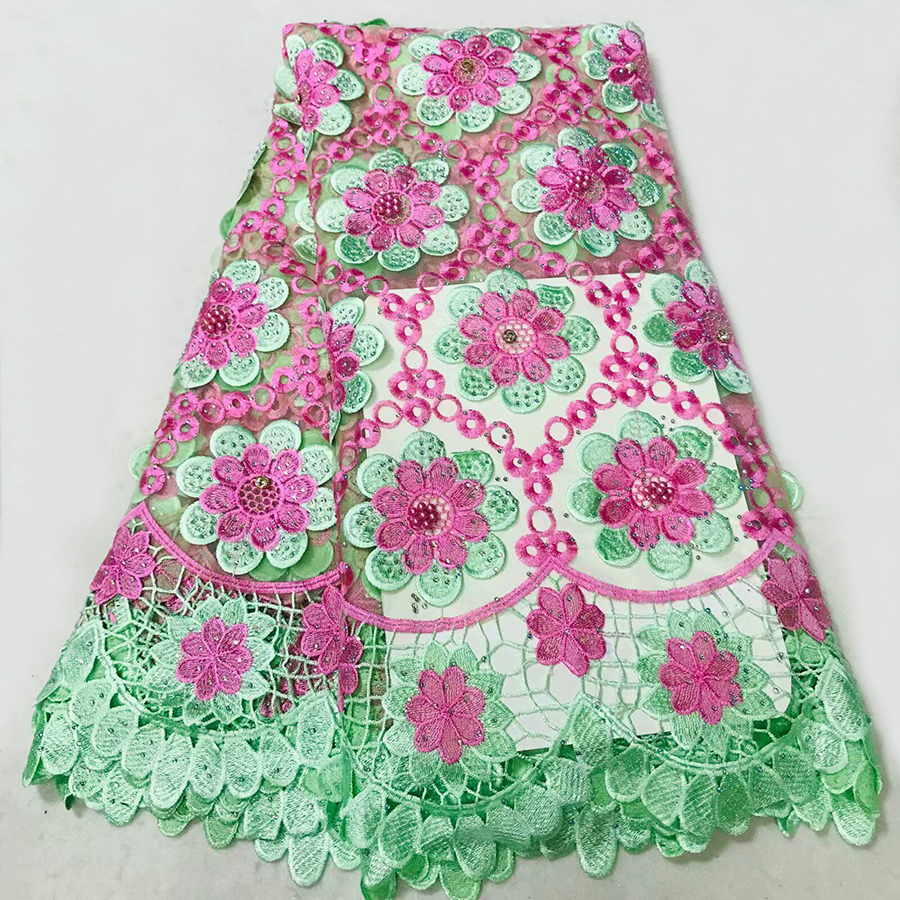Apparel Sewing & Fabric Arts,crafts & Sewing Dependable Sky Blue Pink White Latest Style Design African Lace Fabrics With Beads For Wedding Dress French Net Lace Fabric Purple Beads