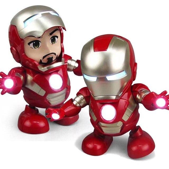 Танцевальные железные человеческие Мстители фигурка игрушка светодиодный фонарик со звуком музыкальный робот Железный человек супер герой электронная игрушка в наличии