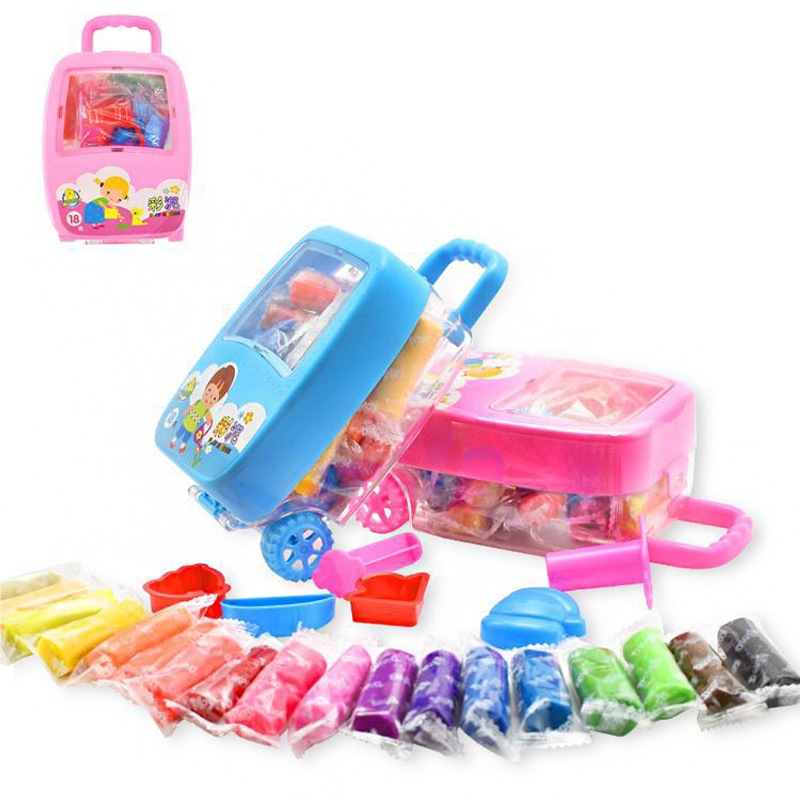 Mini Child Puzzle Toy 18 Color Mud Trolley Case Modeling DIY Plasticine Toy Childrens Cute Plasticine Toy Baby Girl Boy