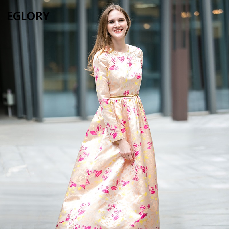 New Plus Size Wedding Party Dresses 2018 Spring Lux Women Beautiful Floral Print Long Sleeve Maxi Long Dress Robe Longue Femme round neck ladies sweater dresses cotton knitted 2018 summer womens mini dresses long sleeve party dress robe longue femme q1
