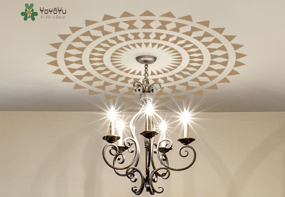 Big Size Choose Ceiling Medallion DECAL Modern Aztec Ethnic Decor Removable  Art Vinyl Lamp Chandelier Wall Sticker NY 435 In Wall Stickers From Home ...