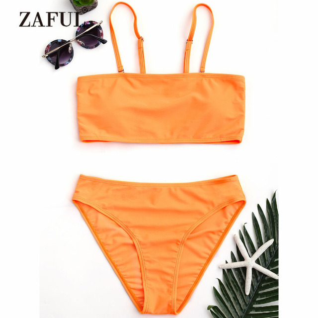 dc4871dce5548 ZAFUL Bikini High Cut Bandeau Bikini Set Women Swimsuit Swimwear Women Cami Bathing  Suit Mid Waist Spaghetti Straps Tube Bikini