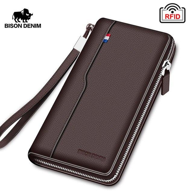 BISON DENIM erkek çanta hakiki deri büyük kapasiteli kart tutucu inek derisi para çanta erkekler için kaliteli fermuarlı bozuk para cüzdanı N8226