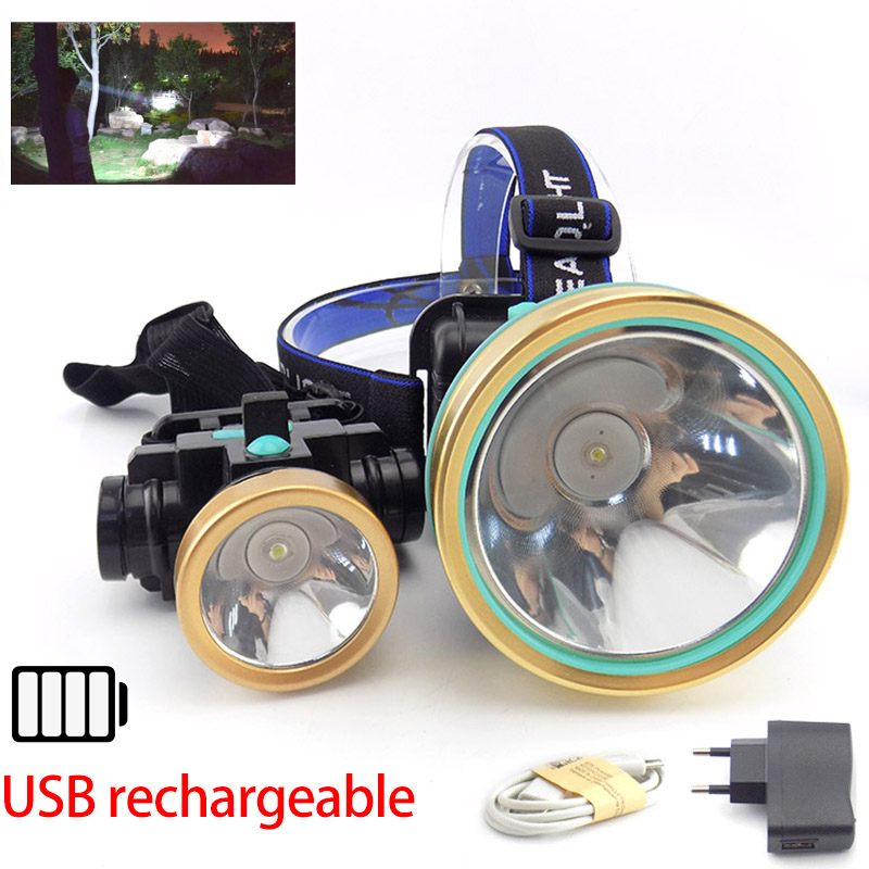 Powerful Led T6 Headlamp Head Lamp Light Torches Lampe Frontale Flashlight Headlight Rechargeable Built-in Battery For Camping