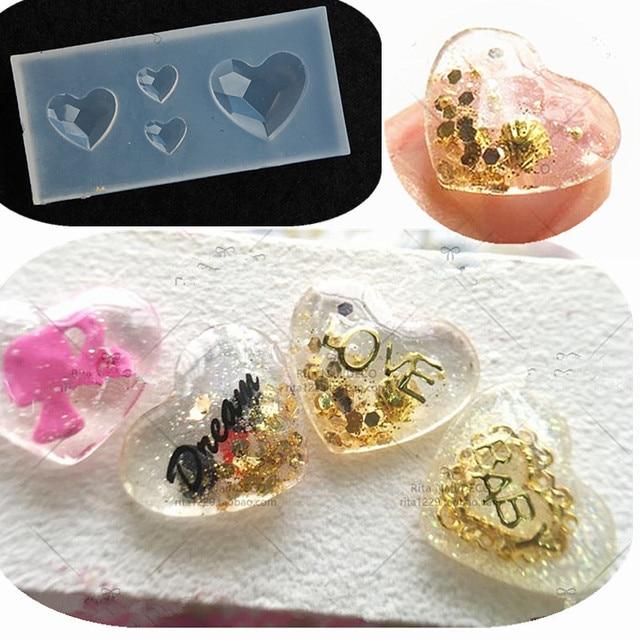 1 stck neue kreative silikon 3d acryl nagel formen edelstein herz kristall muster fr uv gel - Muster Fur Nagel