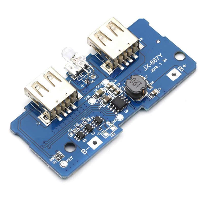 18650 デュアルマイクロ usb 3.7 に 5 v 2A ブーストモバイル電源銀行 diy 18650 リチウムバッテリー充電器 pcb ボードステップアップモジュール led