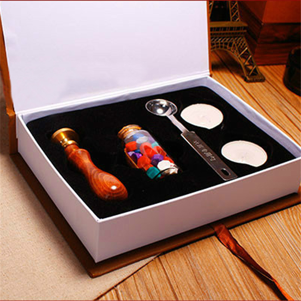 Practical Durability Pop Wax Seal Stamp Kit Set Rosewood Handle Copper Head Various patterns for choose