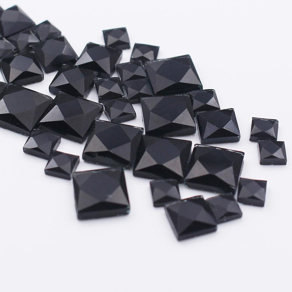Online Shop 130pcs lot 4mm 6mm 8mm 10mm Square Shaped Black clolor Strass Crystals  Rhinestones Hotfix Glue Back Rhinestones For clothes  ad46db204e22