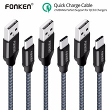 3PCS FONKEN USB Type-C Cable Quick Charger Type C Cable 21AWG Max 2.4A Fast Charging Reversible USB C Cable for Mobile Phone