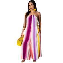 Summer new hot sexy jumpsuit sleeveless halter hanging neck striped print wide-leg jumpsuit palazzo leg striped cami jumpsuit