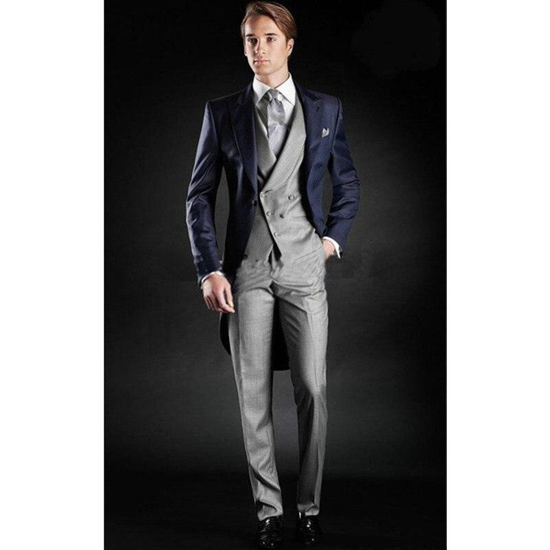 2017 ใหม่อิตาลีเสื้อหางสั้นผู้ชายออกแบบชุดสำหรับงานแต่งงานพรหม (เสื้อ + กางเกง + เสื้อ) เหมาะกับผู้ชายชุดเจ้าบ่าวเจ้าบ่าวทักซิโด-ใน สูท จาก เสื้อผ้าผู้ชาย บน   2