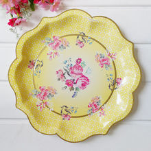 12pcs/lot New Design Vintage Large Paper Plates Blue Yellow Green Pink Flowers Birds Printed & Buy yellow paper plates and get free shipping on AliExpress.com