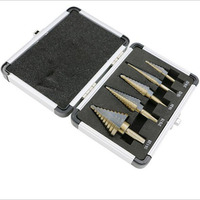 HSS High Speed Steel 5pcs Step Cone Drill Set Of Drill Bits For Metal Toolbox Hole