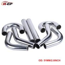 R-EP, универсальная алюминиевая трубка 51 мм, 2 дюйма, воздухозаборник холодного воздуха для гоночного автомобиля, турбо, высокая подача, 0/45/90/180 градусов, L, S